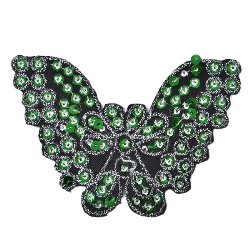 E1311  Butterfly Green Sequin Applique Embroidered 4.25""
