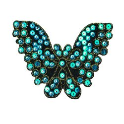 """E1311  Butterfly Turquoise Sequin Applique Embroidered 4.25"""""""