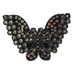 E1311  Butterfly Brown Sequin Applique Embroidered 4.25""