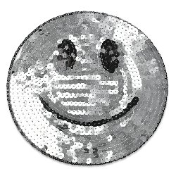 E1313 Smiley Face Silver Sequin Applique Embroidered 7""