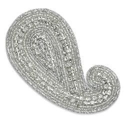 E1001 Paisley Rhinestone Embroidered Applique 3 5/8""