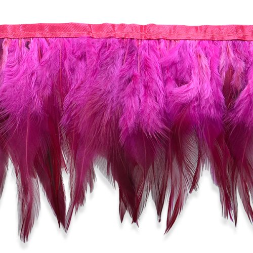 """E6984 Fuchsia Hot Pink Jaylo Feather Fringe Trim 5.5"""""""