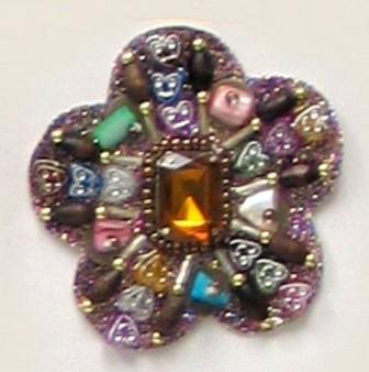 E5963   Designer Sparkly Jewel Heart  Beaded Applique 2.5""