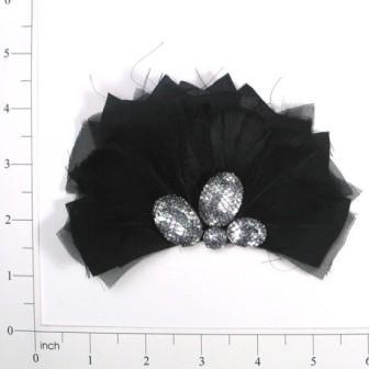 "E4158  Black Silver Feather Applique Brooch 5"""