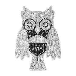 """E1330 Crystal Rhinestone Owl Applique 4"""""""