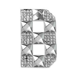 E1327B  Rhinestone Letter Applique B Iron On Patch Crystal 2.5""