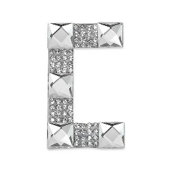 E1327C  Rhinestone Letter Applique C Iron On Patch Crystal 2.5""