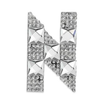 E1327N  Rhinestone Letter Applique N Iron On Patch Crystal 2.5""