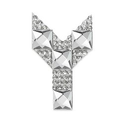 E1327Y Rhinestone Letter Applique Y Iron On Patch Crystal 2.5""