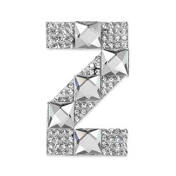 E1327Z  Rhinestone Letter Applique Z Iron On Patch Crystal 2.5""