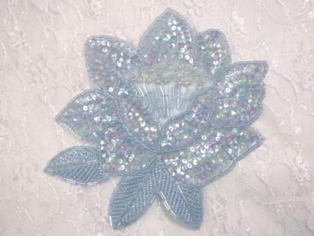 """K8108  Lt. Blue Crystal Flower Sequin Beaded Applique 5.25"""""""