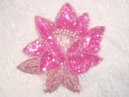 """K8108  Hot Pink Sequin Beaded Applique 5.25"""""""