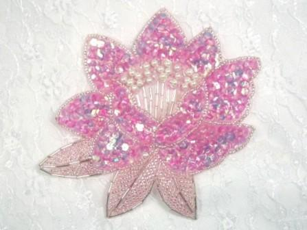"K8108  Pink Crystal Sequin Beaded Applique 5.25"""