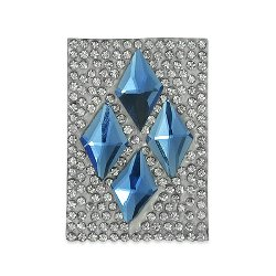 "E1338  Blue Crystal Diamond Rhinestone Applique Iron on Patch 2 3/4"""