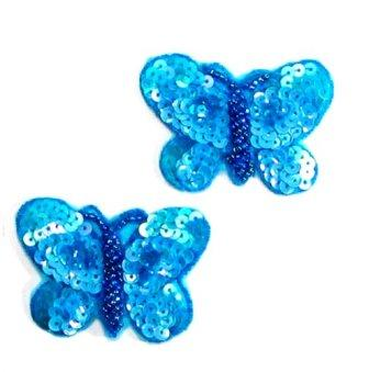 """E243 (Set of 2) Butterfly Appliques Turquoise Sequin Beaded 2"""""""