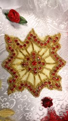 JB96 Red Rhinestone Gold Beaded Rhinestone Applique 4""