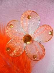 MR020 Choose Size Orange Organza Jewel Floral Embellishment