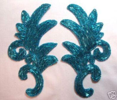 """K8257  Turquoise Beaded Claw  Mirror Pair Appliques 7.5"""""""