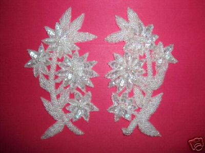 K8125  Crystal  AB Mirror Pair Sequin Beaded Appliques 6""