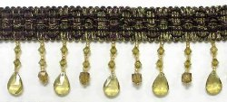E5676 Eggplant Nicole Teardrop Beaded Fringe Trim 2.75""