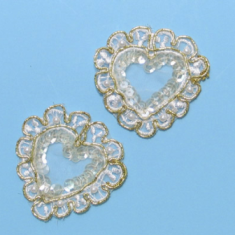 """E32751 Set of Two Gold Pearl Heart  Appliques 2"""""""