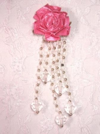 VD21 Mauve Crystal Floral Dangle Beaded Applique 3.75""