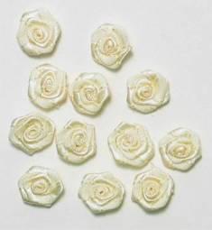 """E4503  Bridal Flower Appliques Ivory Set of ( 12 ) Floral Rose 1/2"""""""