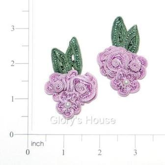 E3604  Lavender Crochet Ribbon Floral Applique Pair 2.25""