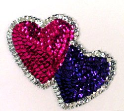 E1070L Fushisa Purple Double Heart Designer Sequin Applique