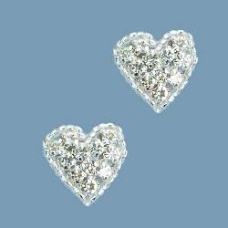 XR136 Set of ( 2 ) Heart Crystal Beaded Rhinestone Appliques .75""