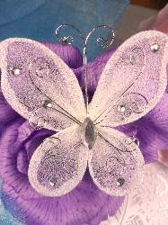 MR021 Choose Size Ivory Organza Jewel Butterfly Embellishment