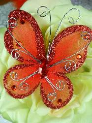 MR021 Choose Size Red Organza Jewel Butterfly Embellishment