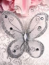 MR021 Choose Size Silver Organza Jewel Butterfly Embellishment