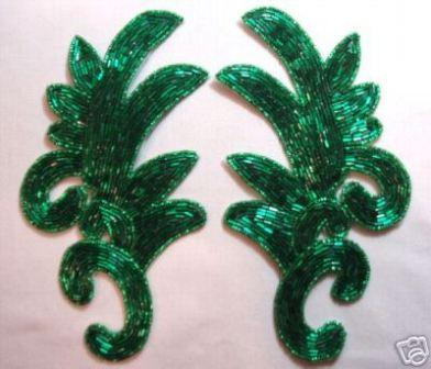 """K8257  Green Beaded Claw  Mirror Pair Appliques 7.5"""""""