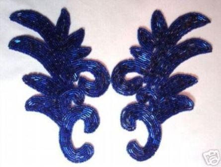 """K8257  Blue Beaded Claw  Mirror Pair Appliques 7.5"""""""