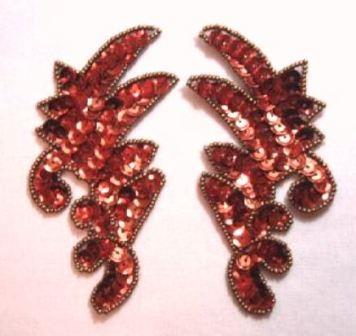 "K8256   Bronze  Mini Claw Pair Sequin Beaded Appliques 3.5"""