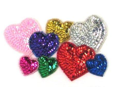 "E161L Heart Cluster Sequin Beaded Applique 5.5"""