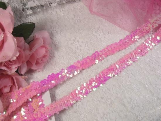 "E4412   Pink AB Sequin Stretch 2 Row Sewing Trim 1"""