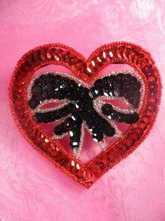 SA5 REDUCED Red Bow Heart Applique Sequin Beaded 3.25""