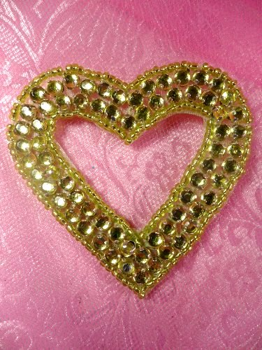 SA16 REDUCED Lime Green Jewel Heart Applique Beaded 2.5""