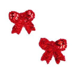 E784C  Set of Two Red Bow Sequin Beaded Appliques 1.25""