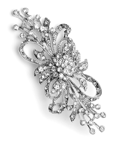 """GB203 Bridal Brooch Rhinestone Pin Vintage Silver Crystal Glass 3.75"""""""
