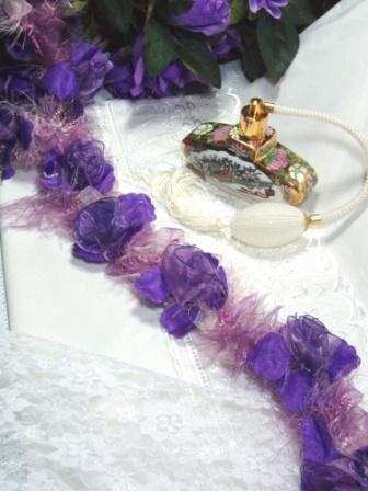 E5665 Purple  Flower Stretchy Sewing Trim