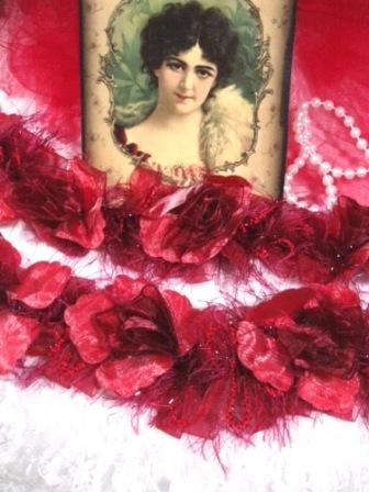 E5665 Red Rose Floral Stretchy Sewing Trim