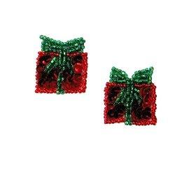 "E583 Set of 2 Christmas Gift Boxes Sequin Beaded Applique 1"""