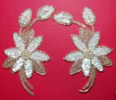 """K8109   White AB Silver Mirror Pair Sequin Beaded Appliques 5.5"""""""