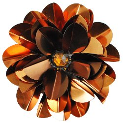 "E6005 Bronze Jewel Floral Sequin Beaded Applique 3.5"""
