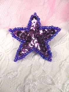 "MS30 Purple AB Star Beaded Sequin Applique 1.5"""
