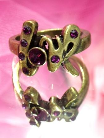 613  Wine Antique Gold Vintage Rhinestone Ring sz 9.75