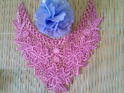 """GB50 Bright Pink Floral Collar Yoke Bodice Embroidered Flower Applique 7.5"""""""